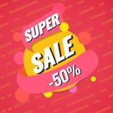 Super verkoopmalplaatje Verkoop en kortingen Tot 50 van Vectorillustratie Het ontwerp van het bevorderingsmalplaatje voor druk of Royalty-vrije Stock Afbeeldingen