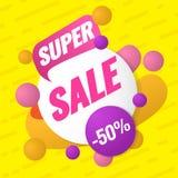 Super verkoopmalplaatje Verkoop en kortingen Tot 50 van Vectorillustratie Het ontwerp van het bevorderingsmalplaatje voor druk of Stock Afbeelding