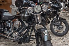 Super vintage motorcycles bikes and sports cars royalty free stock photos