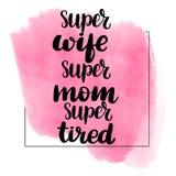 super vrouw, super mamma, vermoeid super stock illustratie