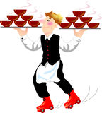Super waiter. A super waiter holding two group of bowl and wearing the rolling shoes Stock Photography