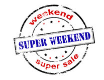Super weekend. Rubber stamp with text super weekend inside, vector illustration Stock Photography