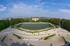 Super wide angle cityscape view of Vienna from Gloriette at Schoenbrunn palace Stock Photography