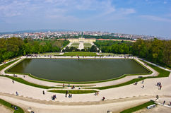 Super wide angle cityscape view of Vienna from Gloriette at Schoenbrunn palace Stock Image