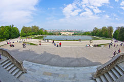 Super wide angle cityscape view of Vienna from Gloriette at Schoenbrunn palace Stock Photo