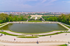 Super wide angle cityscape view of Vienna from Gloriette at Schoenbrunn palace Royalty Free Stock Photos