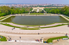 Super wide angle cityscape view of Vienna from Gloriette at Schoenbrunn palace Royalty Free Stock Photo