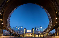 Super wide angle panorama of European Parliament building in Brussels (Bruxelles), Belgium, by night. Super wide angle panorama of the frontal view of the stock photo