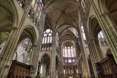 Super wide angle shot of the interior of St. Denis Royalty Free Stock Photo