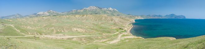 Super wide panoramic Crimean spring landscape Royalty Free Stock Image