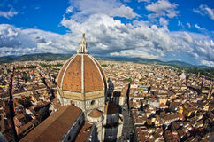 Super wide panoramic view of Florence with a dome of Santa Maria del Fiore cathedral in front Royalty Free Stock Image