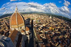 Super wide panoramic view of Florence with a dome of Santa Maria del Fiore cathedral in front Royalty Free Stock Photography