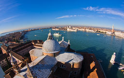 Super wide panoramic view of Venice from San Giorgio Maggiore church Royalty Free Stock Photos