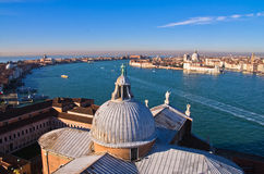 Super wide panoramic view of Venice from San Giorgio Maggiore church Royalty Free Stock Images