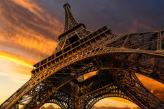 Super wide shot of Eiffel Tower under dramatic sunset Royalty Free Stock Photos