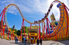 Super wide view of a colorful roller coaster in Prater amusement park at Vienna Royalty Free Stock Images
