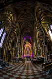 Super wide view inside of saint Stephen's cathedral at downtown of Vienna Stock Images