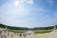 Super wide view of Schenbrunn park and palace in Vienna Stock Photo