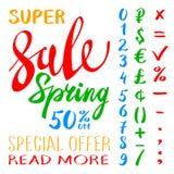 Super wiosny sprzedaży literowania typografii projekt Wektorowy wiosny sprzedaży literowania logo Ręka rysujący wiosny sprzedaży  Obraz Stock