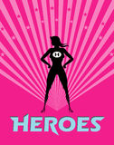Super Woman. A confident and proud silhouette of heroin against a pink background Royalty Free Stock Image