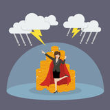 Super woman with barrier protecting her money from thunderstorm Royalty Free Stock Photo