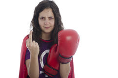 Super woman hero with red eyes showing middle finger. Stock Image