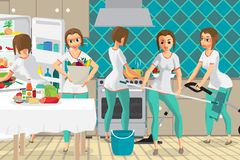 Super woman housewife wife who does several things at the same t Stock Photography