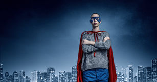 She is super woman . Mixed media Royalty Free Stock Images
