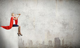Super woman in search Stock Photo