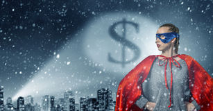 She is super woman stock photo