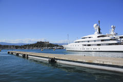 Luxury super yacht antibes harbor french riviera Stock Image