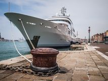 A yacht moored in Venice. A luxury yacht Saint Nicolas moored on the banks of the Grand Canal in Venice Italy Royalty Free Stock Photography