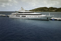 Super Yacht moored at Saint Maarten Royalty Free Stock Images