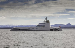 Super Yacht. Motor Yacht A built by Blohm + Voss in 2008, the 119m superyacht A is considered one of the finest yachts on the water. Designed by Philippe Starck royalty free stock image