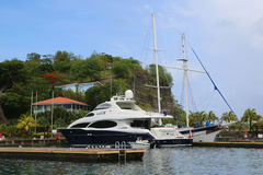 Super yacht in St George`s Marina, Grenada Stock Photos