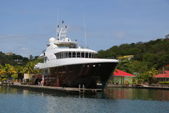 Super yacht in St George`s Marina, Grenada Stock Photo