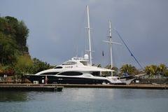 Super yacht in St George`s Marina, Grenada Stock Photos