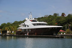 Super yacht in St George`s Marina, Grenada Royalty Free Stock Photography