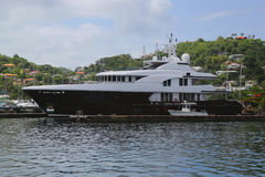 Super yacht in St George`s Marina, Grenada Royalty Free Stock Images