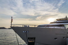 Super yacht at sunset Royalty Free Stock Photo