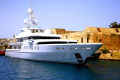 Super yacht, Valletta, Malta. Stock Photo