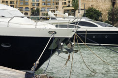 Super yachts moored at Portomaso stock photo