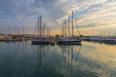Super Yachts moored at Sukosan Harbor near Zadar, Croatia Royalty Free Stock Image