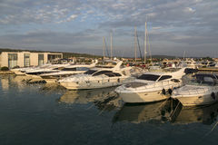 Super Yachts moored at Sukosan Harbor near Zadar Royalty Free Stock Image