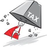 Super Zakenman die de belastingdruk opheffen Stock Fotografie