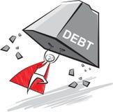 Super zakenman die de schuldenlast opheffen Stock Fotografie