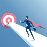Super zakenman en doel stock illustratie
