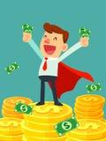 Super zakenman in rode kaaptribune op stapels gouden muntstukken Royalty-vrije Stock Foto's