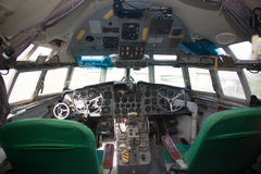 Superannuated aircraft cockpit interior Royalty Free Stock Photo