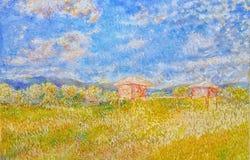 Superar a pintura de óleo acrílica tropical do campo amarelo do arroz ilustração do vetor
